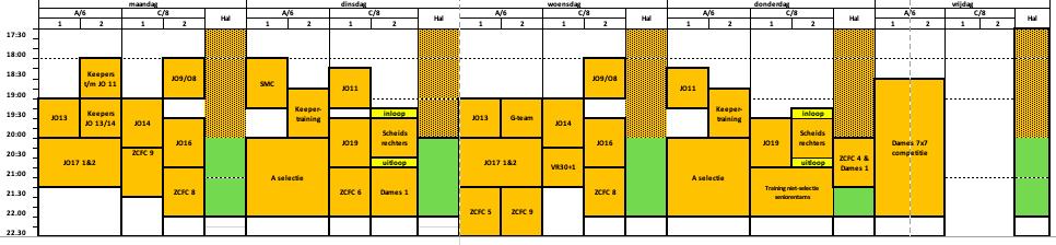 Trainingsschema jeugd en senioren seizoen 2020/2021